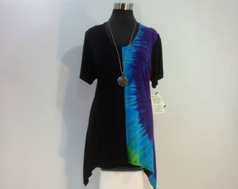 XLarge half black and half rainbow tie dye tunic top with scoop neck and short sleeves in bamboo blend fabric.