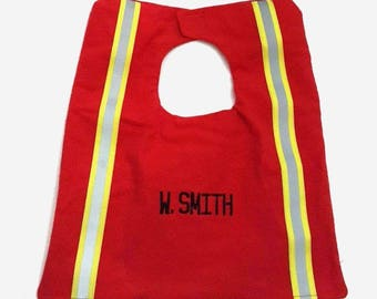 Custom Firefighter Baby Bib ~ With Name and Reflective Tape