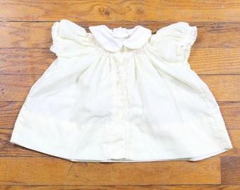 Vintage Polly Flinders Dress Baby Girl Dress Pastel Light Yellow White Peter Pan Collar Lace Trim Pink Smocked Neck Newborn 0 to 3 Months
