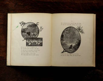 Antique book, illustrated Oliver Goldsmith poem, The Deserted Village with illustrations, Victorian book