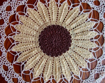 Crochet Sunflower Doily Vintage Crocheted Lace Yellow Doily
