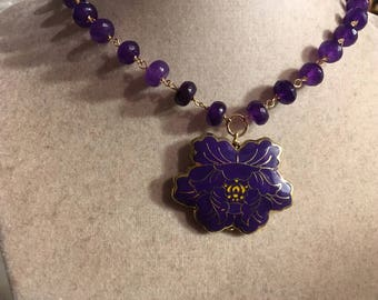 Purple Necklace - Flower Pendant Jewelry - Chunky - Statement - Gold Jewellery