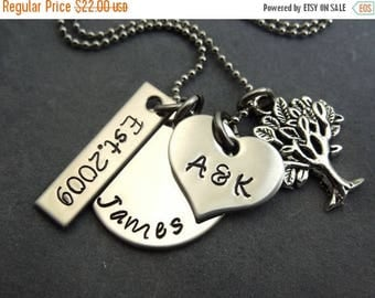 Personalized charm necklace, hand stamped stainless steel