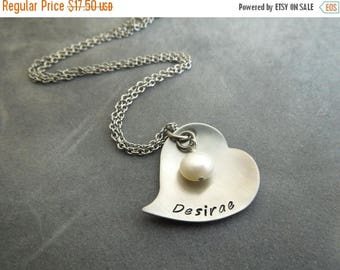 SALE Personalized heart mothers / grandmothers necklace hand stamped stainless steel