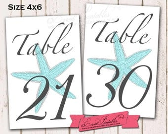 21 to 30 Printable Starfish Table Numbers, Aqua 4x6 Beach Wedding Table Numbers, INSTANT DOWNLOAD Digital File by Event Printables