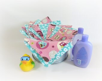 Cloth Wipes, Washcloths, Burp Cloths, Handkerchiefs in Pink Owl and Turquoise Flower Prints Set of 12