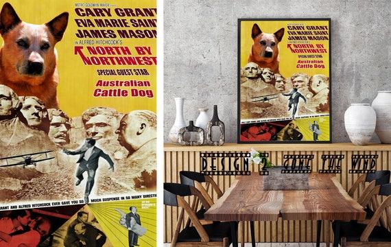 Australian Cattle Dog Art Heeler Dog Vintage Painting Canvas Art Heeler Print North by Northwest Movie Poster Dog Portrait Nobility Dogs