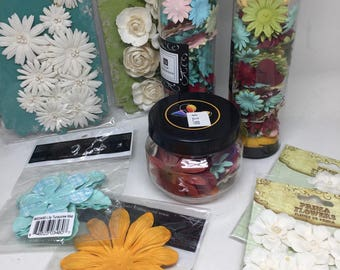 Flower, flowers and more flowers for mixed media, scrapbooks and journals sale priced