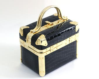 Vintage Box Purse Navy and Gold   Comeco Navy Faux Alligator with Shiny Gold Hardware   Vintage 60's Trunk Bag   Vintage Glam