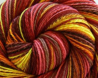 Handspun Yarn DK weight, Self Striping 'Mistress of Eternity' Handpainted Superfine Merino wool, 313 yards, gift for knitter, weft yarn