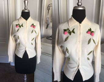 Vintage 1950's Cream Cardigan Sweater with Strawberry Accents Small