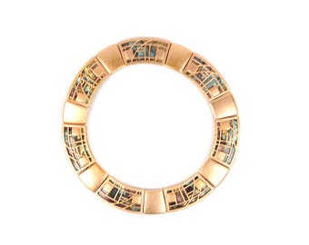 Vintage 1970's Monet Heavy Gold + Mother-of-Pearl Egyptian Revival Collar Bib Necklace
