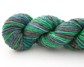 REDUCED - Hand Dyed Yarn - Hand Painted Yarn - Sport Weight - Superwash Wool Yarn - Green Gray Blue - Amphibious
