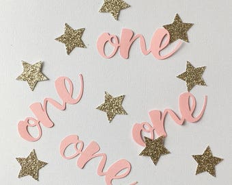 Twinkle Twinkle Little Star Confetti, pink and gold first birthday, First Birthday, pink and gold glitter, birthday decoration