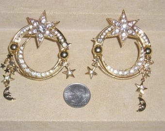 Vintage Kirks Folly Stars And Moons Pierced Earrings With Crystal Rhinestones 1980's Unsigned Jewelry 11060