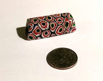 Rare Antique Composite Murine Venetian Millefiori Rectangular Glass African Trade Bead
