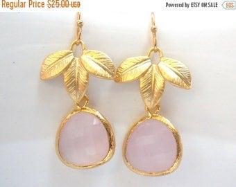 SALE Pink Earrings, Glass Earrings, Leaf Earrings, Soft Pink, Gold Earrings, Bridesmaid Earrings, Bridal Earrings Jewelry, Bridesmaid Gifts