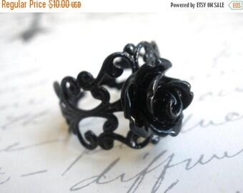 SALE Black Ring, Black Rose Ring,  Adjustable Ring, Flower Ring, Silver Ring, Petite Ring, Cabochon Ring, Filigree Ring, Friend Gift, Teenag
