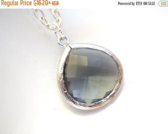 SALE Gray Necklace, Grey Necklace, Charcoal Pendant, Silver Necklace, Glass Necklace, Weddings, Bridesmaid Necklace, Bridesmaid Gift