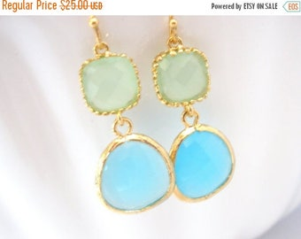 SALE Blue Earrings, Green Earrings, Aqua, Aquamarine, Gold Mint Earrings, Wedding, Bridesmaid Earrings, Bridal Earrings Jewelry, Bridesmaid
