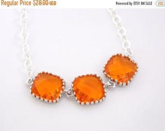 SALE Orange Necklace, Glass Necklace, Orange Pendant, Sterling Silver, Tangerine, Carnelian, Bridesmaid Necklace, Bridal Jewelry, Bridesmaid