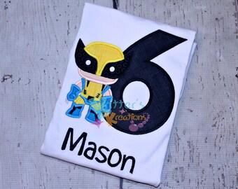Custom Wolverine - X-Men Birthday Inspired Embroidered Applique Shirt
