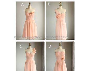 2017 Mix and Match Short Peach Bridesmaid Dress Short, Blush Pink Fairy Wedding Dress, One Shoulder Coral Rosette Dress Knee Length (E003)