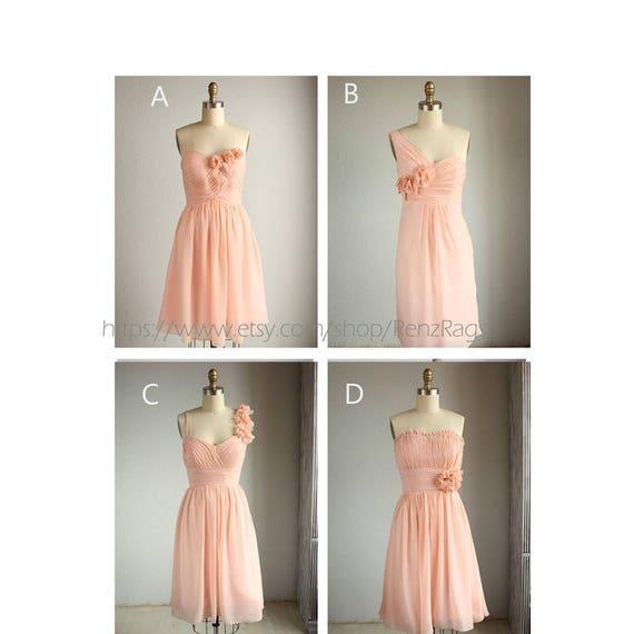 Mix And Match Short Bright Peach Bridesmaid Dress Blush
