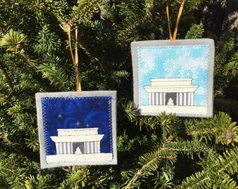 Ornament, Lincoln Memorial ornament, handmade sewn fabric ornament, 4x4 inches, hangs on satin ribbon, your choice of sky color