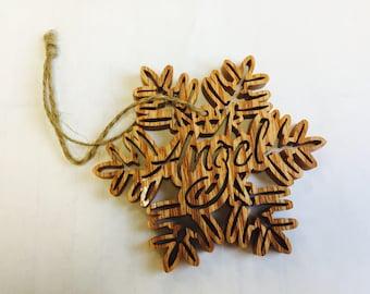 Snowflake Ornament -  Unique Ornament - Holiday Decor - Wooden Snowflake - Peace Ornament - Tree Ornament - Wood Ornament - Fancy Tree Trim