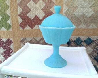 Vintage Fenton Glass Covered Compote
