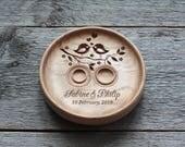 Personalized Wedding Ring Bearer Wedding ring pillow alternative Wedding ring plate dish holder Wedding plaque Anniversary gift Love Birds