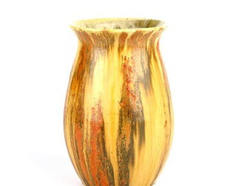 Vintage English Candy Ware Vase in streaked uranium orange glaze
