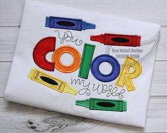 Color My World - School Shirt - Appliqued and Personalized