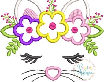 Cat Face with a Crown of Flowers - Appliqued and Personalized