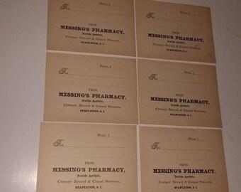 6 Vintage Pharmacy medicine bottle blank labels drug store paper ephemera lot scrap art supplies