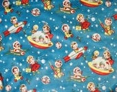 MINKY, Michael Miller Retro Rocket Rascals, Yardage, Minky Fabric by the yard, Space Ships, Blue and Red, Flying Saucers, Vintage Look, Soft