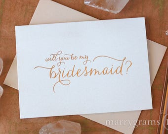 ROSE GOLD FOIL Cute Will You Be My Bridesmaid Cards Will You Be My Matron of Honor, Maid of Honor, Flower Girl, Proposal Card CS01 (6ct)