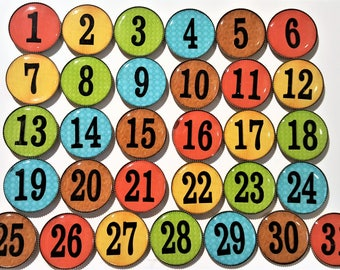 Teacher magnets, numbers for the classroom, Calendar number magnets, rainbow numbers, classroom supplies, office supplies, student magnets
