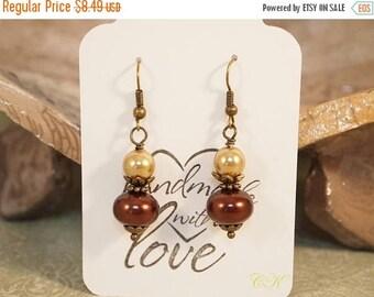 CIJ Timeless Pearl Earrings, Victorian Style Earrings , Brass and Pearl Dangle Earrings, Pierced or Clip-on Earrings, Pearl Drop Style Earri