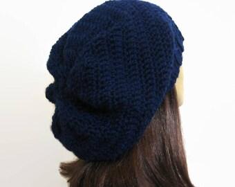 Navy Blue Crochet Slouchy Hat Oversized knit Slouch Hat Dark Blue Slouch hat Navy Blue Slouch Beret Blue Knit oversize Tam  Oversize  Beanie