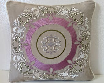 White embroidered pillow BEIGE embroidered silk cushion cover PINK silk pillow Cream linen cushion cover Osborne and Little MoGirl DESIGNS