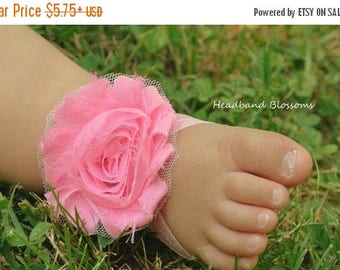SALE Adorable PINK Barefoot Sandals - Baby Shoes - Frayed Chiffon Flower Sandal - Newborn Baby Photo - 1st Birthday Princess Pink - Baby San