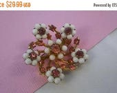 ON SALE Milk Glass & Pink Rhinestone Brooch - Vintage Flower Pin - 1950's 1960's Hard To Find Rare Collectible Jewelry - High End Mid Centur