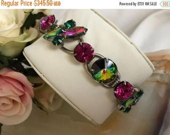 On Sale Vintage Watermelon Rhinestone Bracelet - 1960's Purple Pink Collectible Designer Rare Jewelry