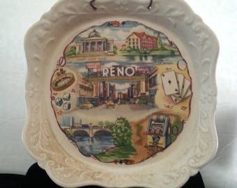 Now On Sale Casino Vintage Plate * Retro Home Decor * Reno Man Cave Collectible * Dice Roulette Poker Cards Slot Machine