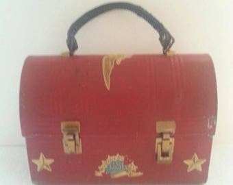 Now On Sale Vintage Red Metal Lunch Box Stars USA Eagle Design 1970's Rockabilly Industrial