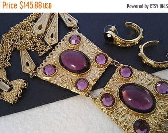 On Sale 1960's High End Purple Glass & Rhinestone Vintage Statement Fringe Necklace Earring Set, Old Hollywood Glamour Jewelry