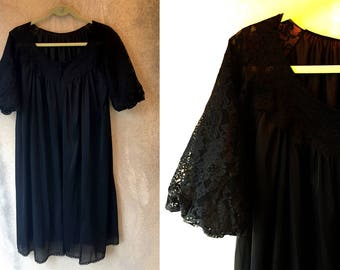 Black LACY Puffed Sleeves Nightgown Cover up Dress Lace Large