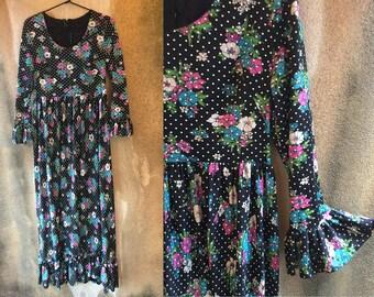 60's Beautiful Floral Polka Dot Textured Black Maxi Long Sleeved Ruffle Dramatic Maxi Dress